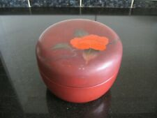 Vintage Reddish Brown Plastic? Lidded Pot with Painted Flower Decoration