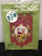 New Vtg 1970s Bucilla Christmas Needlecraft Jeweled Door Chime Santa Claus Cameo