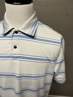 Zero Restriction ZR Striped Performance Golf Polo Shirt Mens Large- Read Desc