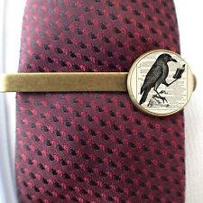 VICTORIAN STEAMPUNK - TIE CLIP - CROW BOOK - 3D GLASS LENS FRONT - GIFT WEDDING