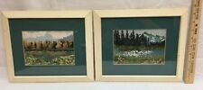 Counted Cross Stitch Mountain & Valley Landscapes Framed Vintage Lot of 2