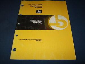 JOHN DEERE 117 118 120 PRESSURE WASHER TECHNICAL SERVICE REPAIR MANUAL TM-1315