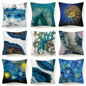 """Throw PILLOW COVER Blue White Decorative Double-Sided Soft Cushion Case 18x18"""""""