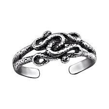 Tjs 925 Sterling Silver Toe Ring Snake Celtic Knot Design Adjustable Oxidised