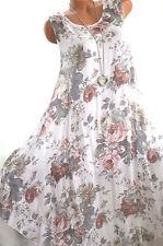 Sommerkleid Strandkleid Lagenlook Blumenkleid ROSEN 40 42 44 Weiß NEU Italy Mode