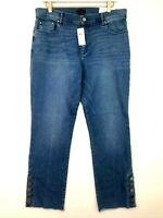 Ann taylor the straight modern button ankle cuff denim jeans medium wash 12 new