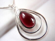 Garnet Necklace in Double Hoop 925 Sterling Silver Imported from India New
