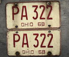 1968 OHIO LICENSE PLATE PAIR  # PA 322