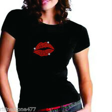 Red Lips Rhinestone Iron On Transfer Valentines Bling Applique