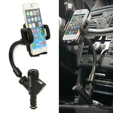 Dual USB Car Charger Holder Mount With Cigarette Lighter Chargers for CellPhone