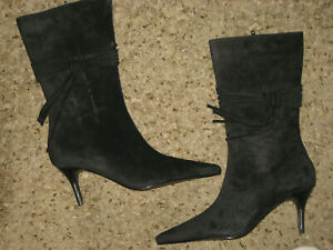 Brand NEW Womens black mid calf suede boots 8.5 Bijou fringe zip gorgeous!