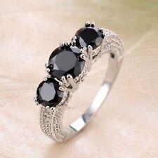 Women Fashion 925 Sterling Silver Black Onyx Ring Wedding Engagement  Jewelry