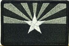 ARIZONA Flag Iron-On Tactical Patch Black, White & Gray Version Black Border #71