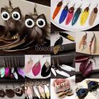 Novel Handmade Jewelry Hook Drop Dangle Crystal Owl Feather Ear Stud Earrings
