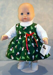 15 Inch Doll Clothes - Snowmen on Green Jumper Outfit handmade by Jane Ellen