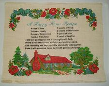 Vintage Happy Home Recipe Cottage Folk Art Primitive TeaTowel Cloth Wall Hanging