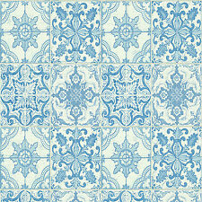 Wallpaper Moroccan Style Tile On Roll Tiling Blue White Kitchen Bathroom  Wall Part 97