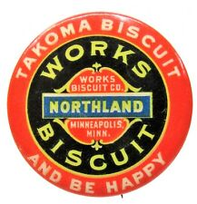 """early NORTHLAND WORKS BISCUIT Minneapolis Minnesota 1.5"""" pinback Button ^"""