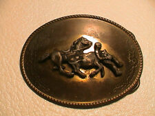 BULL RIDER RODEO LASSO WESTERN THEME COWBOY COWGIRL BRASS METAL BELT BUCKLE