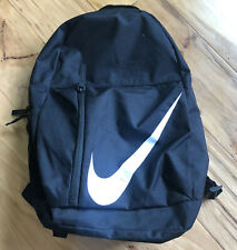 Nike Backpack School College Big Zipper Pockets Solid Black White Athletic Sport