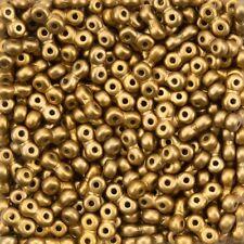 Infinity Czech Glass Beads 4x8mm Matte Metallic Antique Brass 7.5g (H35/33)