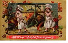 Vintage Postcard Post Thanksgiving Greeting Children cooking Big Turkey  art