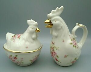 Grace's Teaware Pink Roses Gold Accents Nesting Hen Rooster Sugar Bowl & Creamer