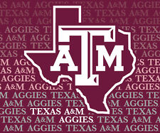 """TEXAS A&M 5""""X6"""" REPEAT DECAL-TEXAS A&M AGGIES DECAL STICKER-NEW FOR 2016"""