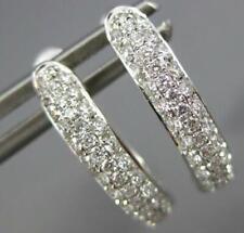 Row Oval Leverback Huggie Hanging Earrings Estate .52Ct Diamond 18K White Gold 3