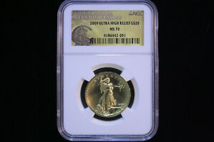 2009 Ultra High Relief Double Eagle Gold 1oz Piedfort Coin $20 NGC MS 70