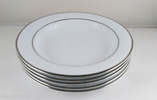 "10 STRAWBERRY STREET - Set of 4 - Double Silver Line Large Rim 9"" Soup Bowls"