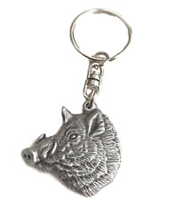 Wild Boars Head Handcrafted In Solid English Pewter KeyRing HIND - KR1516