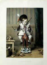 LA CHARGE DE CAVALERIE - XIX CENT. LITHOGRAPHIE