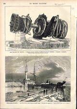 Epave du Navire Cuirassé Le Magenta Rade de Toulon/Boulogne-sur-Mer GRAVURE 1875
