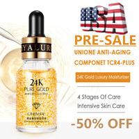 US 24k Gold Facial Skin Care Anti wrinkle Anti Aging Face Essence Serum Cream