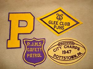 VINTAGE 1940-50'S POTTSTOWN, PA. SCHOOL PATCHES FOOTBALL GLEE CLUB SAFETY PATROL