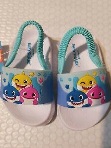 Nikelodeon  Boys Blue Baby Shark Back Strap Slip On Sandals  Toddler  sz 6  Kids