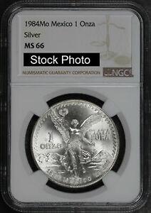 1984-Mo Mexico Silver Libertad 1 Onza NGC MS-66