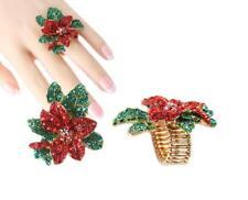 Stretch Ring Christmas Poinsettia Gold W. Rhinestone Crystal  Xmas Gift
