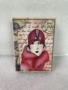 Hero Arts Artprints Rubber Stamp G2811 Gracious Lady Retro Cloche Hat Coat 2003