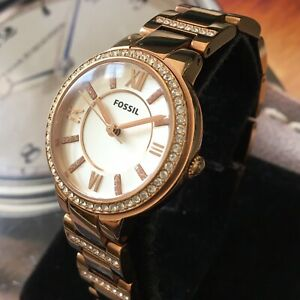 Ladies Fossil Designer Watch ES3284 VIRGINIA Rose Gold Pvd Steel Genuine