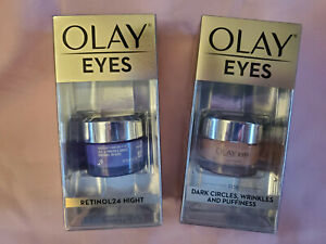 Olay Eyes Retinol 24 Night and Dark Circles Wrinkles Ultimate Cream TWO PACK