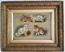 ANTIQUE OIL PAINTING CAT KITTENS ON CANVAS 19TH CENTURY