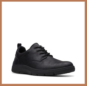 Men's Clarks TUNSIL LANE Black Synthetic Casual / Work Shoes - CLOUDSTEPPERS