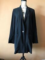COS Women's Black Oversized One Button Front Long Sleeve Blazer Jacket Size 8