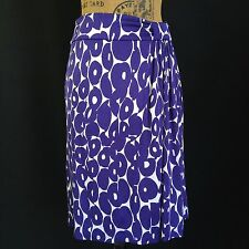Etcetera size 4 Small white purple silhouette dot rayon side pleat stretch skirt
