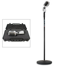 Silver 50s Style Retro Disco Microphone Classic Karaoke Party Mic Stand