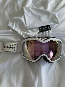 Oakley Snow Ski Snowboard Goggles Ladies Pink Iridium Stockholm White
