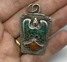 Old Pawn Navajo Sterling Silver Turquoise Coral Inlay Peyote Bird Pendant. 10.4g