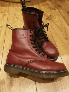 DR MARTENS 1460 Women's Smooth Leather Ankle Cherry Red Boots Shoes Size UK 4